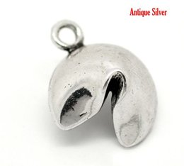 Wholesale Retail Antique Silver Lucky Fortune Cookie Charm Pendants x15mm quot x5 quot sold per pack of