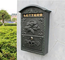 Wholesale Antique Wall Mount Cast Aluminum Flower Mailbox Embossed Trim Decor Dark Green Metal Mail Letters Post Box Yard Patio Free Ship