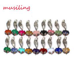 Wholesale Fox Pendants Natural Stone Pendant Jewelry Charms Amethyst Rose Quartz etc Retro Oval Bead Accessories Fashion Jewelry Mix Order