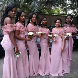 2017 African Arabic Cap Sleeve Pink Mermaid Bridesmaid Dresses Off Shoulder Satin Handmade Lace Cheap Prom Gowns Wedding Party Dress