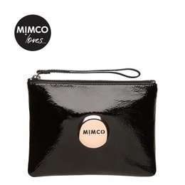 Wholesale 1Pcs MIMCO Medium Pouch Small Rice Rose Red Large MIMCO Patent Leather Wallet Handbag For Women Clutch Bags MIMCO Purse Hot Sale