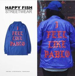 Hot Sales Pre Sale I Feel Like Pablo Men Jacket Hip Hop Long Sleeve Baseball Man Bomber Jackets Casual Kanye West Outerwear 2 Colors