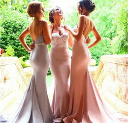 Sexy Mermaid Bridesmaid Dresses Spaghetti Lace Beads Sleeveless Low V Back Zipper Buttons Court Train Prom Dresses