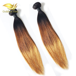 Ombre Hair Extensions Ombre Virgin Human Hair 3Pcs 100g Three Tone Straight Hair Weave Brazilian Ombre Hair
