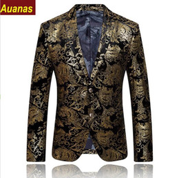 2016 New Arrival Gold Blazer Men Floral Casual Slim Blazers Fashion Party Single Breasted Men Suit Jacket Plus Size M-4XL