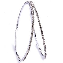 Wholesale 32 mm Sizes Big Clear Crystal Circle Round Charm Bamboo Hoop Earrings Fashion Jewelry For Women
