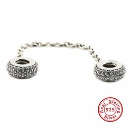 Wholesale Pave Inspiration Safety Chain Clear CZ Sterling Silver Bead Fit Pandora Fashion Jewelry DIY Charm Brand