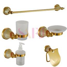 Wholesale New Luxury Antique Art Gold Bathroom Hardware Hanger Set Towel Bar Hook Soap Paper Holder Brush Cup Sanitary products