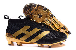 Wholesale Charlin s Cheap ACE Purecontrol Football Boots Men FG AG ACE Soccer Cleats Pure Control Soccer Shoes Pogbance Black Gold