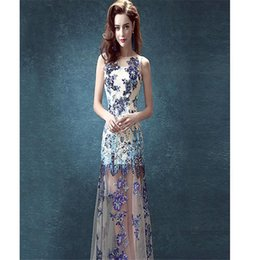 Wholesale The Blue And White Porcelain Blue Bride Wedding Dinner Will Perform Before The Long And Short Paragraph Wedding Dresses