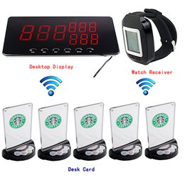 Wholesale 433 MHz Wireless Restaurant Queuing System With Receiver Host Watch Receiver Desk Card Call Button F3217A