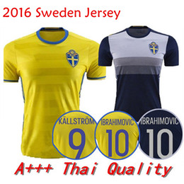 Wholesale 2016 Jersey Sweden home yellow Zlatan Ibrahimovic Sebastian Larsson Kim Kallstrom Berg Away Black Soccer Jersey Football shirt