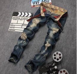 Top sales new sales Jeans US style beauty men Straight Cotton Jeans hiphop Hole Mens Jeans Rhinestone ripped Large Size