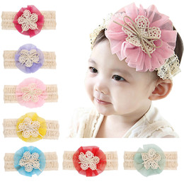 Headbands Baby Girls Lace floral hair band Elastic Bow Headband Headwear for Newborn Infant Toddler Hair Accessories