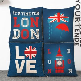 45cm Love London Blue Red Flag Cotton Linen Fabric Waist Pillow 18inch Fashion New Home Gift Coffeehouse Decoration Sofa Car Cushion
