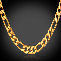 U7 Classic Figaro Cuban Link Chain Necklace 18K Real Gold Plated 316L Stainless Steel Fashion Men Jewelry Accessories Punk Style