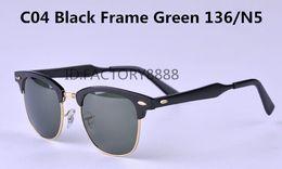 Wholesale Fahsion Mens Womens Designer Brand Sun Glasses Top Quality Aluminum Frame Metal Hinge Green Glass Lens UV400 Sunglasses With Packing