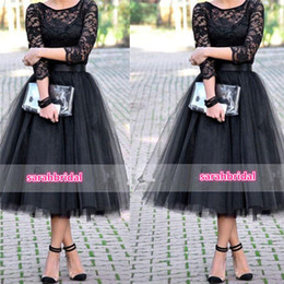 Tea Length Junior Bridesmaid Dresses With 3 4 Long Sleeve 2016 Black Vintage Lace Tulle Arabic Wedding Party Prom Gowns Cheap Under 100 Hot