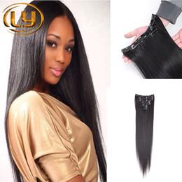 Compra Online Extensión del pelo humano clip de la cabeza llena-8Inch-30Inch # 1B Extensiones de cabello Clip humano en marrón medio en forma de maraña Clip en la extensión del cabelloStraight Full Head Load