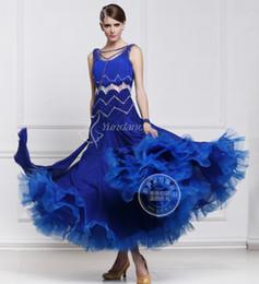 2016 new blue customize ballroom Waltz tango salsa Quick step competition dress