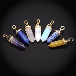 Wholesale Bullet Shape Natural Stone Pendant Real Amethyst Women Chakra Gem Stones Quartz Crystal Pendants Summer Jewelry DHN688