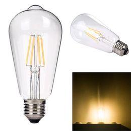 Wholesale ST64 E27 W Edison Style Antique LED Filament Light Bulb Warm White LM W Incandescent Bulb Equivalent AC V Dimmable