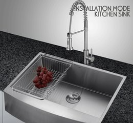 Wholesale High standard set Brushed Stainless Steel Singel Bowl Undermount Sink with Faucet kitchen Sink