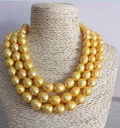 Wholesale single strand 12-13mm baroque south sea gold pearl necklace 45inch 14k gold clasp