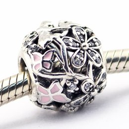 Dazzling Daisy Fairy Light Pink Enamel & Clear CZ 100% 925 Sterling Silver Bead Fit Pandora Fashion Jewelry DIY Charm Brand
