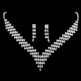 Wholesale Only Cheap Shinning Wedding Jewelry Sets Rhinestones Crystal Bridal Necklace and Earrings Sets For Prom Party Hot