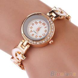 Women's Rhinestone Moon Star Faux Suede Analog Quartz Bangle Bracelet Wrist Watch 1SKF