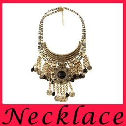Wholesale Europe and the United States alloy jewels family name wind retro Coin Necklace Pendant Necklace tassel short gem multilayer metal