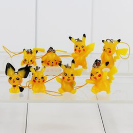 Wholesale Straps For Bag Wholesale - Cute Poke Pikachu Keychain PVC Action Figure Keychain Mobile Phone Strap Bag Strap For Kids Gift 8pcs set