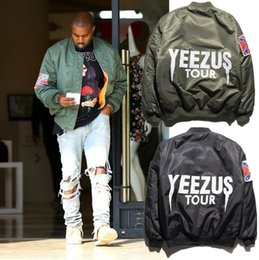 Wholesale MA1 Bomber Flight jacket Kanye West Yeezuss tour pilot jackets limited edition Black Army Green yeezyss air force streetwear Warm winter