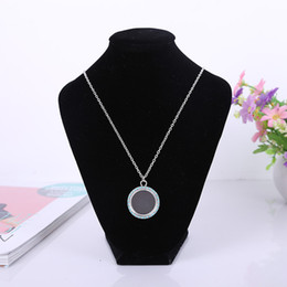 Wholesale Round diamond necklace with openable glass box LOCKET Necklace DIY photo frame factory direct