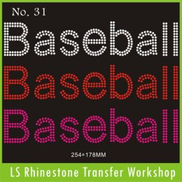 Wholesale MIX color piece letter Baseball hot fix stock rhinestone transfer image motif for t shirt cost