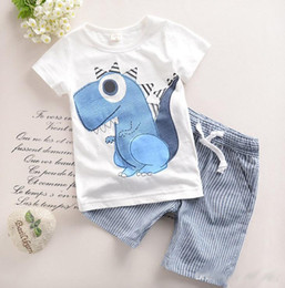 Wholesale 2016 Cute Baby Kids Clothing Adorable Boys Outfits Short Sleeved Dinosaur Tops Striped Shorts Child Sets Cotton Suits Clothes