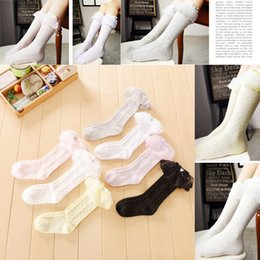New korean girls new fashion sock lace ruffle heart Bows socks knee high socks cotton long Stockings girls princess dress best socks A8344