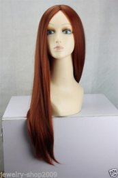 100% Brand New High Quality Fashion Picture full lace wigs>>New Cosplay Copper Red & Dark Brown Mix Straight Halve Long Women Full Wig