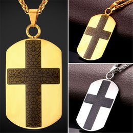 U7 New Dog Tag Cross Necklace High Quality Enamel Stainless Steel Men 18K Gold Plated Christian Pendant For Men Religious Jewelry