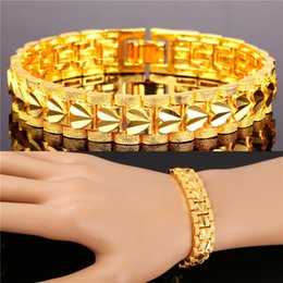 U7 Romantic Heart Bracelet Gift for Love Platinum 18K Real Gold Plated Carving Wristband Chain Bracelet Fashion Accessories Gold Bracelet