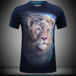 High Quanlity 3D printing wild animals Various animal heads T-shirt Men's short sleeved t shirts Round neck t Shirts Tees Man Shirts