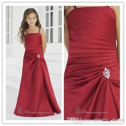 Promotion robes de satin de mariage juniors 2016 satin rouge Hot Sale Pleat paghetti Strap Gaine Robes de demoiselle d'honneur pour mariage Party Formal Junior Gowns Flower Girl Dresses