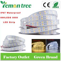 New IP68 600LEDS 5M bande de LED SMD 5050 étanche IP67 Froid / Chaud LED Ruban Blanc Lumière 144W / rouleau 120LED / M Pour jardin à partir de ip68 conduit bandes lumineuses fournisseurs