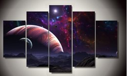 Framed Printed marvelous universe 5 piece painting wall art children's room decor poster canvas Free shipping F 1371
