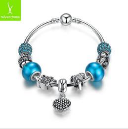New Fashion 925 Silve Deep Blue Lake Glass Beads Diy Beaded For Women European Pandora Charms Bracelet Jewelry Beaded Strands Snake chain