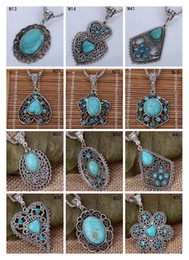 Fashion women's DIY Tibetan silver turquoise necklace(with chain) 12 pieces a lot mixed style,hollow European Beads pendant necklace EMTQN2