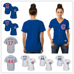 Wholesale NEW Women s Shirt Chicago Cubs Banks Bryant Rizzo Arrieta Majestic Baseball Jersey