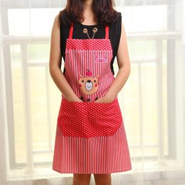 Korean style Cartoon little Bear wave dot Waterproof apron Fashion kitchen housework anti fouling apron Home Essentials