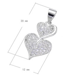 CZ Micro Pave Brass Pendant Heart Platinum Plated Micro Inlay Cubic Zirconia12x20mm Hole:Approx 3.5mm